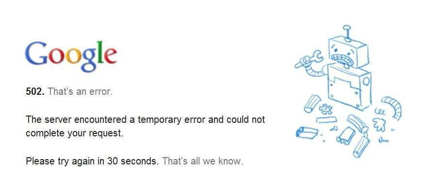 Google 502 Error Screenshot
